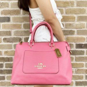 Coach satchel Bag pebbles leather pink